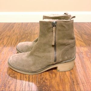 Zara Suede Zip Fur Lined Ankle Boot